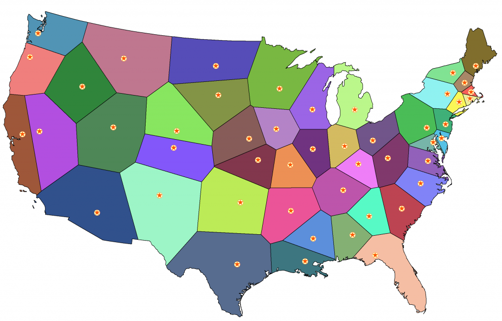 US Voronoi states with capitals